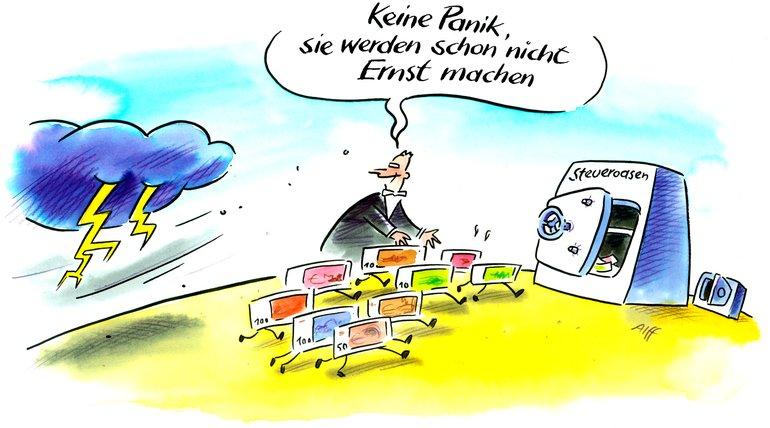 Karikatur: Flucht in Steueroasen